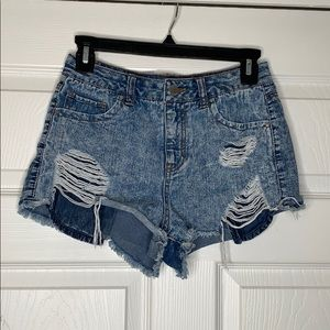 Refuge   High Waist   Distressed   Jean Shorts